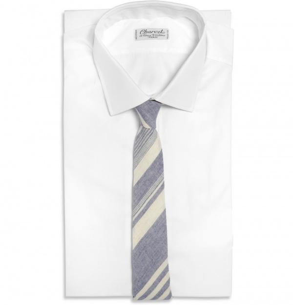 186263 mrp fr xl Alexander Olch Slim Striped Linen Tie