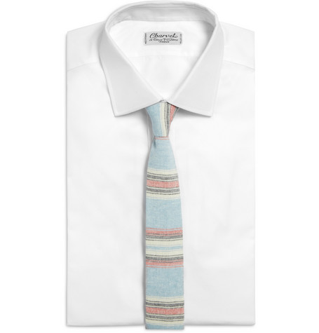 189332 mrp fr l The Hill Side Slim Stripe Cotton Blend Chambray Tie