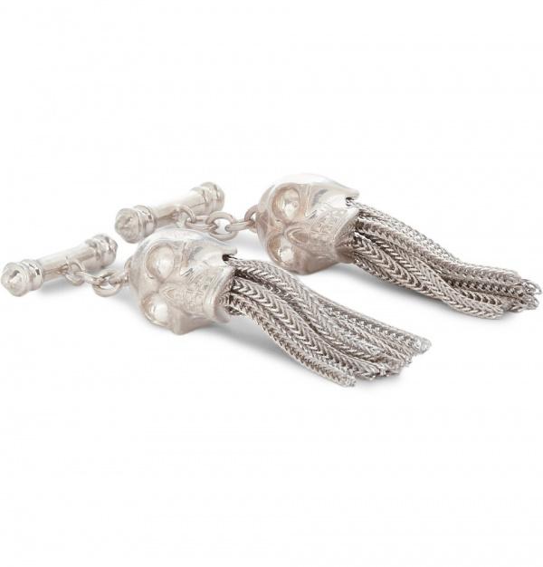 359677 mrp in xl Alexander McQueen Tassled Silver Skull Cufflinks