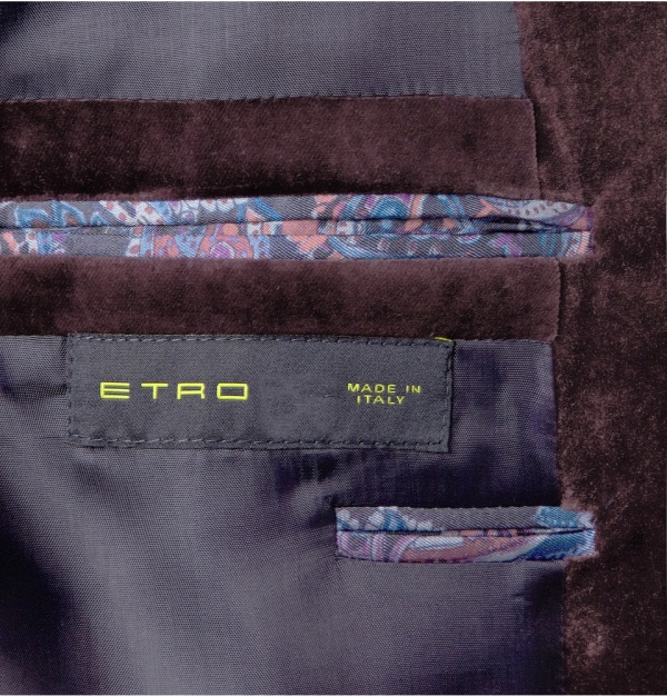 359558 mrp e2 xl Etro Contrast Collar Velvet Suit Jacket