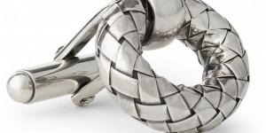 Bottega Veneta Intrecciato-Effect Cufflinks