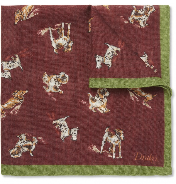 373980 mrp in xl Drakes Dog Print Wool Silk Blend Pocket Square