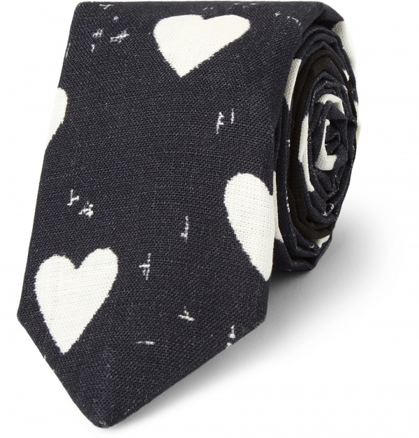359505 mrp in xl Burberry Prorsum Heart Print Linen Tie