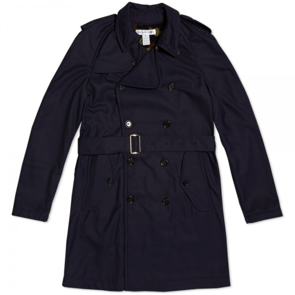 25 09 2013 commedesgarconsshirt camolinedtrenchcoat navy Comme des Garcons SHIRT Trench Coat