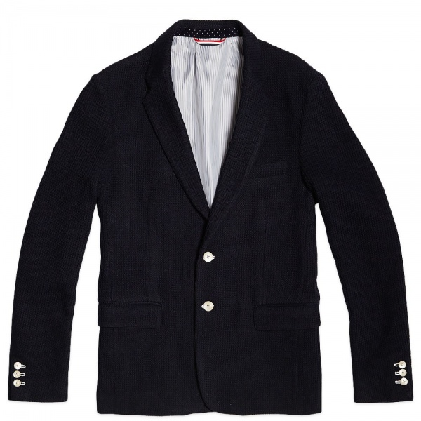 25 11 2013 js russellcode2button navy 1 Journal Standard 2 Button Knitted Blazer