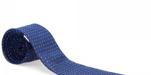 The Hill-Side Linen Indigo Discharge Print Pointed Tie