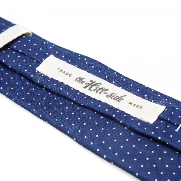 15 04 2014 thehillside linenindigodischargeprintpointedtie pindot d1 The Hill Side Linen Indigo Discharge Print Pointed Tie