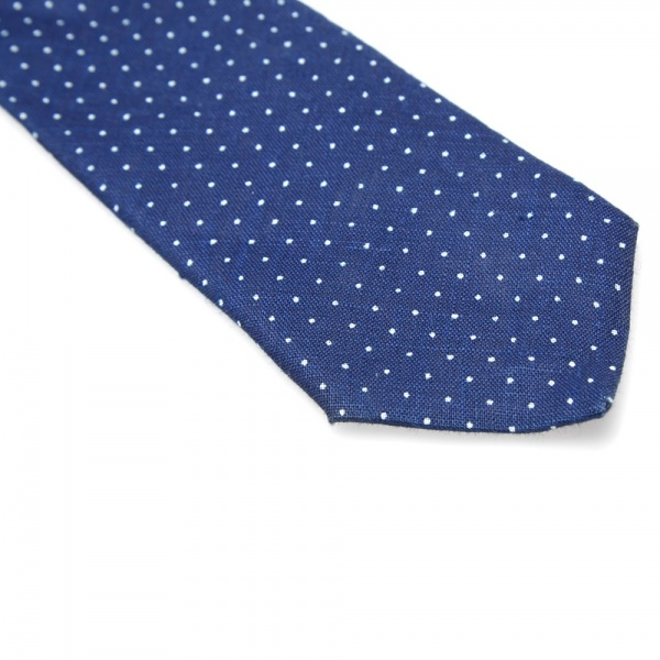 15 04 2014 thehillside linenindigodischargeprintpointedtie pindot d2 The Hill Side Linen Indigo Discharge Print Pointed Tie