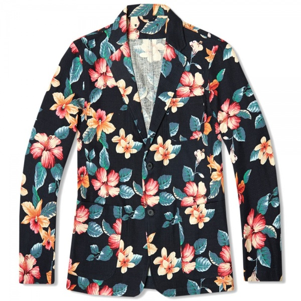 18 04 2014 sophnet pripera2buttonunconjacket navyflower Sophnet. Pripera Navy Flower Print 2 Button Blazer