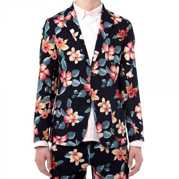 18 04 2014 sophnet pripera2buttonunconjacket navyflower d3 Sophnet. Pripera Navy Flower Print 2 Button Blazer