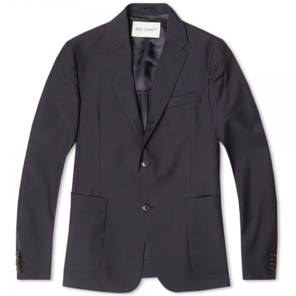 29 05 2014 ourlegacy threebuttonrollingblazer navyjaquard new  1 Our Legacy Three Button Rolling Blazer